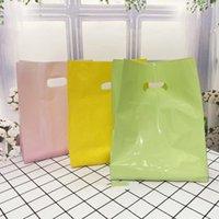 50 pz Borse di plastica spesse 15x25x3cm Borse di imballaggio dei monili di colore solido Shopping Borsa regalo di plastica con manico 210402