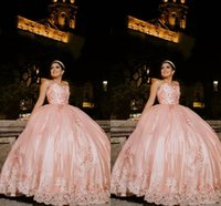 2022 Blush Pink Lace Quinceanera Dresses Sweet 16 Girls Ball Gown Puffy Strapless Applique Hand Made Flowers Lace-up Graduation Dress Long