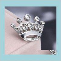 핀 브로치 Sier 톤 클리어 크리스탈 작은 크라운 핀 브로치 B015 매우 귀여운 합금 여성 칼라 웨딩 신부 쥬얼리 접근 자