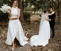 2022 Simple Country Wedding Dresses Bridal Gowns Halter Short Front Long Back Satin Zipper Ruched Court Train High Low Designer plus size