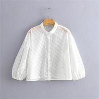 Women's Blouses & Shirts Chic Lady Turn-Down Collar Polka Dot Print Za White Blouse Female Casual Lantern Sleeve Transparent Sprin