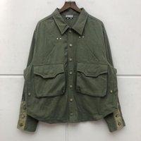 Men's Jackets Oversize Canvas Jacket Men Embroidered Logo Denim Multi Pocket Coat Women Quality Coats