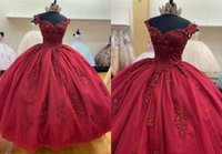 Glamourous Dark Red 3D Floral Flowers 2022 Ball Gown Quinceanera Dresses with Straps Beaded Applique Tulle Sweet 15 16 Charra Prom Evening Formal Party Dress