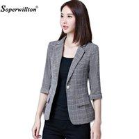 Soperwillton 2021 Sonbahar Ceket Blazers Artı Boyutu Gri kadın Blazer Kore OL Stil Coat Tops Bir Düğme Kadın # A980 Suits