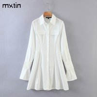 Vintage Sexy White Skinny Women's Mini Dress Fashion Lapel Collar Long Sleeve Female Streetwear Dresses womens clothing 210510