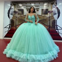 Mint Green Ball Gown Quinceanera Dresses 2022 Long Sleeve Lace Sequined Prom Gowns Lace-up Corset Sweet 15 Party Dress