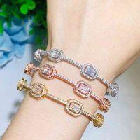 CWWZircons Luxury Stackable Statement Gold Bangle for Women Wedding Cubic Zircon Crystal CZ Dubai Silver Plated Bracelets BG041 A0611