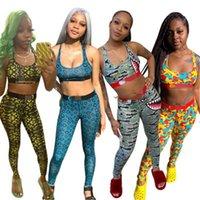 Lettre de femme Impression Tracksuits de Yoga Trend de la mode Tendance U-Col U-Couleur Gilet Tops Pantalons Sports Sports Home Costumes Femme Spring Fitness Ensembles minces