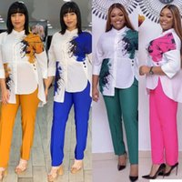 Ethnic Clothing African Women Sets Print 3 4 Sleeve Blazer Jacket Pants Suits Office Lady Elegant 2 Piece Set Business Outfits Africa