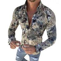 New Men Printed shirt Slim Fit Male Social Fashion Casual Long Sleeved Dress Shirt Brand top coat1