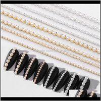Decoraciones Arte 3D Gold Metal Cadena Beads Line Multisize Snake Bone DIY Manicure Decoración de uñas Qnkyh MZPPH