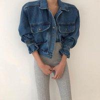 Women's Jackets 2021 Spring Denim Jacket Women Lapel Puff Long Sleeve Short Outwear Vintage Casual Jean Coat Female