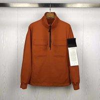 새로운 남자 Topstoney 힙합 섬 거리 CP 느슨한 돌 코트 남성 캐주얼 바람 브레이커 하프 - 지퍼 자켓