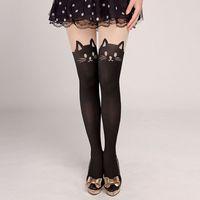 Women'S Autumn Fashion Japanese Stitching Stockings Fake High Tube Over The Knee Pantyhose Cat Jacquard Fake Thigh Socks Black