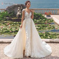 2021 Luxury Full Lace Mermaid Wedding Dress with Detachable Train Elegant Scoop Neck Appliques Vintage Wedding Bridal Gowns BJ01