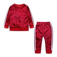 Clothing Sets Baby Girl Solid Stylish Toddler Kids Tracksuit Boys Velvet Tops Sweatshirt Pants Trousers Outfits Autumn Clothes Set 9M-4 Y
