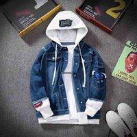 E-BAIHUI Men Denim Jacket Streetwear Hip Hop Hooded Jean Jackets Male Casual Loose Outerwear 2021 Spring Fashion Slim Fit Coat