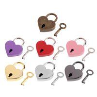 Heart Shape TNT Old Key Lock Mini Child For Safety Padlocks Archaize Free Vintage Antique Handbag small Luggage tiny Craft Style Wi Exocp