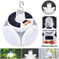 Bombilla LED Lámparas solares Al aire libre impermeable Cable USB USB recargable Plegable Luz Camping Camping Jardín Iluminación