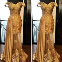 Gold Mermaid Evening Dresses Latest Lace Beaded Prom Dress Ruched Floor Length Illusion Skirt Formal Party Gowns Plus Size