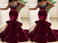 Sexy Velvet Burgundy Mermaid Prom Evening Dresses Formal Gowns African Designer Floral Flowers Beaded ridesmaid Pageant Dresess