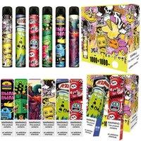몬스터 듀얼 일회용 전자 담배 포드 장치 2in1 스위치 6.0ml 사전 충전 된 vape 펜 스틱 증기 바 만화 인쇄 ezzy 1000 + 100