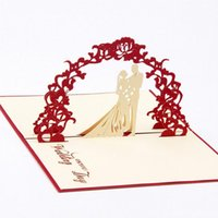 Greeting Cards Sweety Wedding Invitation 3D Laser Cut Paper Cutting Up Kirigami Card Custom Postcards Wishes Gifts For Lover CD020
