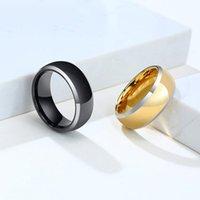 Hochzeitsringe Einfache Wolframstahl Herrenring Schwarz / Gold Farbe Modeschmuck