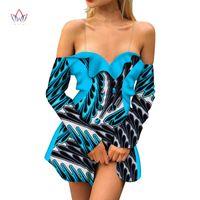 Abiti casual Abbigliamento africano Donne Abbigliamento dashiki Bazin Riche Sexy scollo a V Manica lunga Dress Partito fuori Spalla Stampa Mini Personalizza WY5368