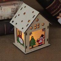 DIY Christmas Tree House Hanging Ornaments Christmas Festival Decoration Led Light Wood House Holiday Decor Xmas Gift HH7-1705 yxy0083