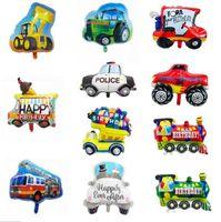 Yeni Karikatür Parti Dekorasyon Tren Yangın Motoru Ambulans Şekilli Alüminyum Folyo Balon Çocuk Doğum Günü Oyuncak Toptan