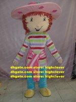 Doce rosa morango menina mascote traje mascotclake adulto com grande rosa chapéu colorido listras camisa no.2652 navio grátis