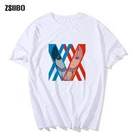 ZSIIBO Man's Darling In The Franxx T Shirts Zero Two Waifu Funny Short Sleeves Anime Manga Tees clothing Pure Normal T-Shirts