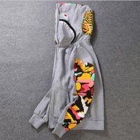 19cc 패션 까마귀 남자 디자이너 스웨터 욕조 원숭이 원숭이 물고기 머리 위장 전체 지퍼 자켓 윈드 브레이커 힙합 - 3XL