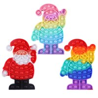 Fidget Toy Push Bubble Sensory Toys for Autistic Children Silicone Rainbow Santa Claus Fidgets Stress Autism Games Adults with AD, ADHD, Anxiety Relief Items - C100