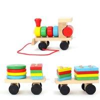 Heißer Verkauf Baby Spielzeug Holz Zug Truck Set Geometrische Sortierplatte Montessori Kinder Pädagogisches Spielzeug Gestapelt Puzzle Kind Geschenk ZXH 1266 Y2