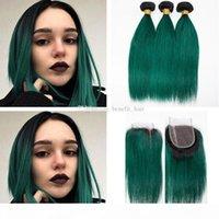 Ombre Black Dark Green Capelli 3 Bundles con chiusura 4x4 Silky Dritto Vergine di trama Umana Prolunga con 1b Chiusura verde 4x4