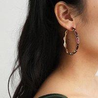 Pendientes Mosaico Red Crystal Zinc Party Gold Aleación Retro para Color Mujeres Drop Vintage Jewelry1 Hoop Club Orears Jewelry Mguru