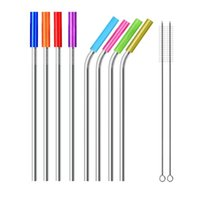 Stainless Steel Straws Reusable straight and bend Metal Straws With Silicone Tips Cleaning Brush bar drinking straw SN812