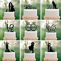 Sr. Sra. Decoración de la boda Cake Topper Acrylic Black Romantic Bride Groom Cake Accesorios para Favors Favors