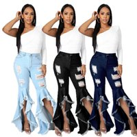 Women Designers Clothes 2021 Fashion Stitching Hole Washed Jeans Stretch Slim Flared Pants