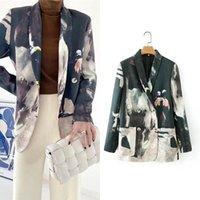 Vintage Krawatten-Farbstoff-Blazer-Anzug-Frau-Kontrastfarben Büro-elegantes zweireihiges Back-Streifen lässig Pendelmäntel Frauenanzüge Blazer