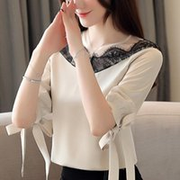 Womens Tops And Blouses Summer Women 2021 Short Sleeve Shirts Lace Chiffon Blouse Camisas Mujer B390 Women's &