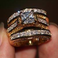 Promocja Kobiety Mężczyźni Biżuteria 3-w-1 Obrączka ślubna 14kt żółty Złoto Wypełnione Princess Cut Diamond Engagement Band Ring DFF1992