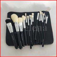 15pcs / Set Brush con sacchetto di PU Spazzola per il trucco Pennello professionale per la polvere Foundation Blush Eyeshadow Eyeliner Blenzing Brusi multifunzione