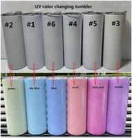 الأشعة فوق البنفسجية تغيير لون بهلوان 20oz التسامي بهلوان ضوء الشمس الاستشعار الفولاذ المقاوم للصدأ البهلوان مستقيم مع غطاء والحنان