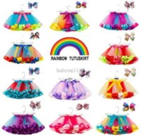 11 colores Baby Girls Tutu Vestido Dulces Arco Iris Color Bebés Faldas Con Sistemas De Diademas Diezías Danza Dance Vestidos Tutus
