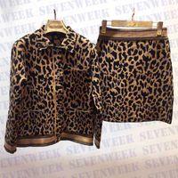 Мода леопардовые женские вязаные рубашки платье набор осенью женщин одежда очарование женские вечеринки свадебный костюм