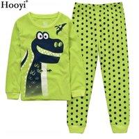 Дино мальчики спать костюмы 100% хлопок длинные детские одежды наборы мотор футболки брюки 2 частей наборы малыша пижама 2 3 4 5 6 7 года 210413