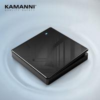 KAMANNIi Luxury Light Switches US Standard Glass Panel Switch 1 2Gang 3 Way Crossbar Switch Black Power Push Botton Switch 220V
